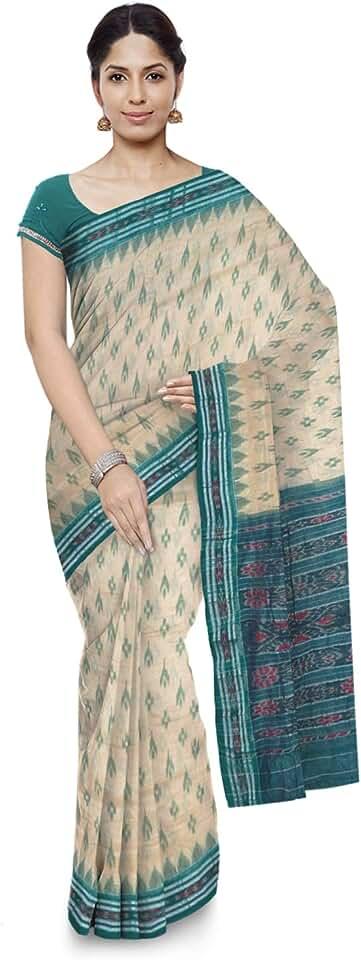 Indian ODISHA HANDLOOM Women's Sambalpuri Art Silk Saree With Blouse Piece (o 54_Green) Saree