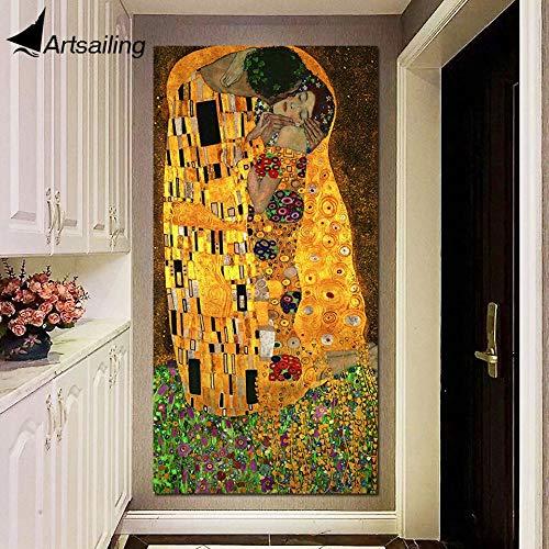 El Beso Gustav Klimt Aceite y Pan de Oro sobre Lienzo Pieza Arte de la Pared Enorme decoración Moderna Pintura Impresa Lienzo Cuadros 70x140cm