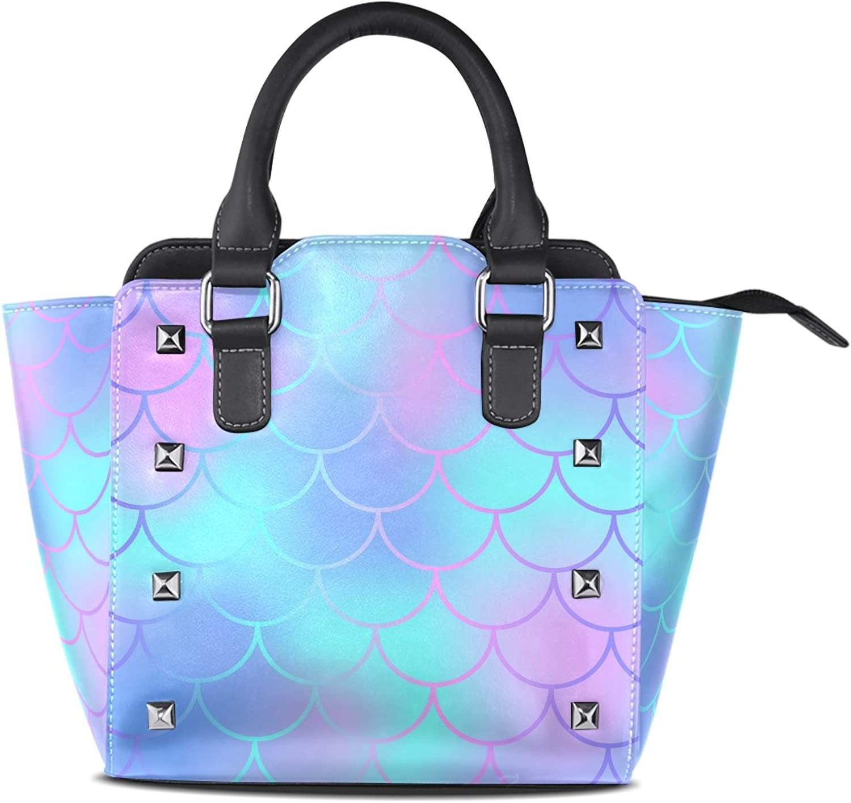 My Little Nest Women's Top Handle Satchel Handbag Mermaid Fish Tail Scale Ladies PU Leather Shoulder Bag Crossbody Bag