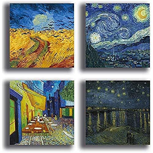 Printerland Quadri Stile Van Gogh, 4 Pezzi, 30 x 30 cm, Notte Stellata Campo Gano, Stampa Tela Canvas Arredamento Arte XXL Arredo Soggiorno Salotto Camera Letto Cucina Ufficio Bar Ristorante