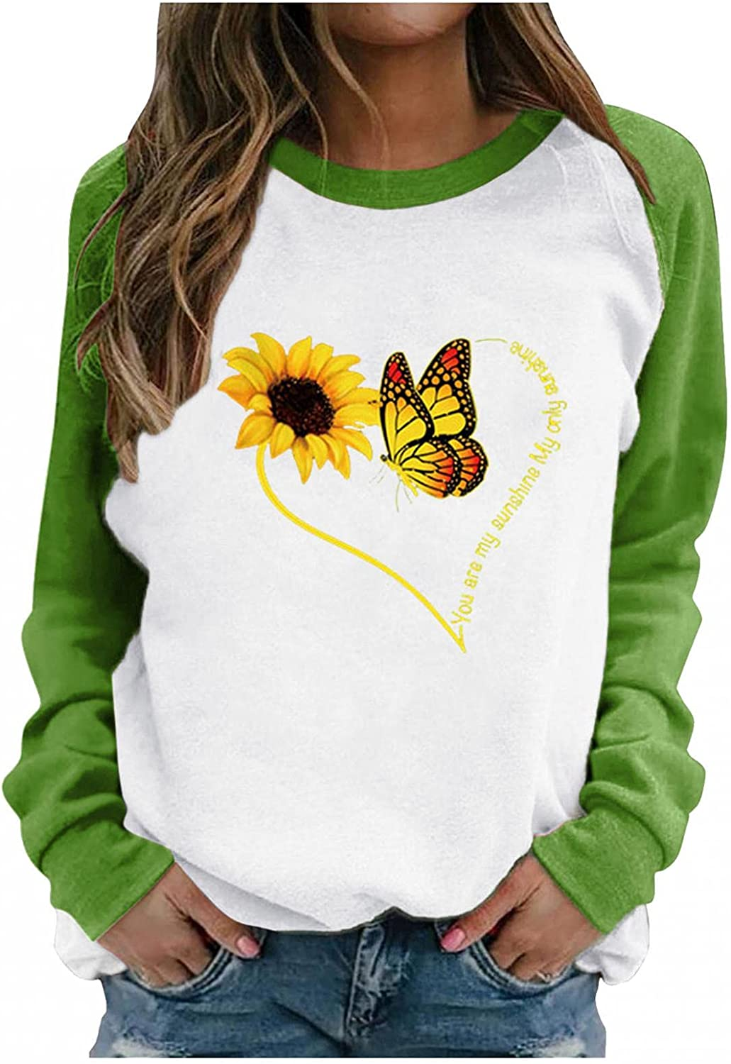 Toeava Crewneck Sweatshirts for Women,Womens Casual Long Sleeve Sunflower Graphic Tee Shirts Pullover Tops Outwear