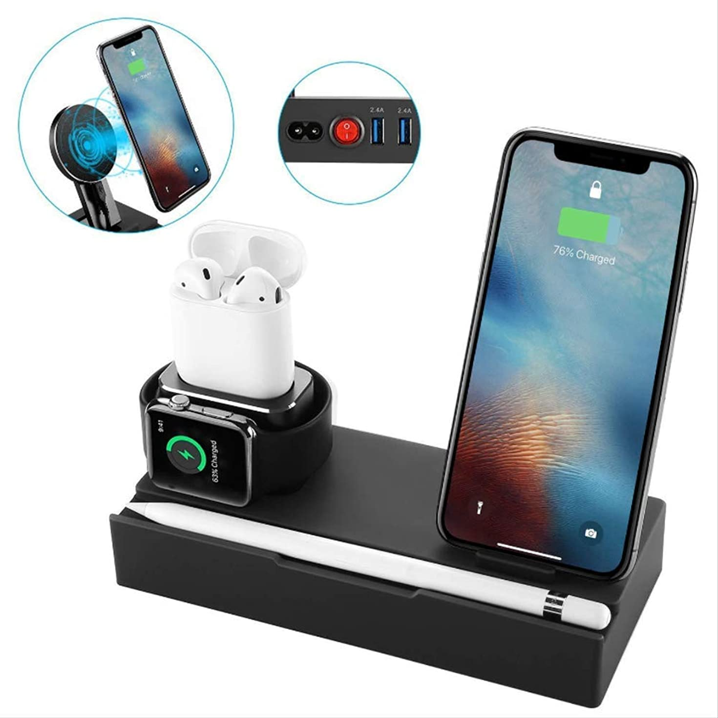[8 in 1] Upgrade Aluminum Charging Dock Stand,iCozzier Tablet Cell Phone Wireless Stand with 2 Ports USB Charger, Organizer Station for Apple Watch,Pencil, iPhone, AirPods,iPad