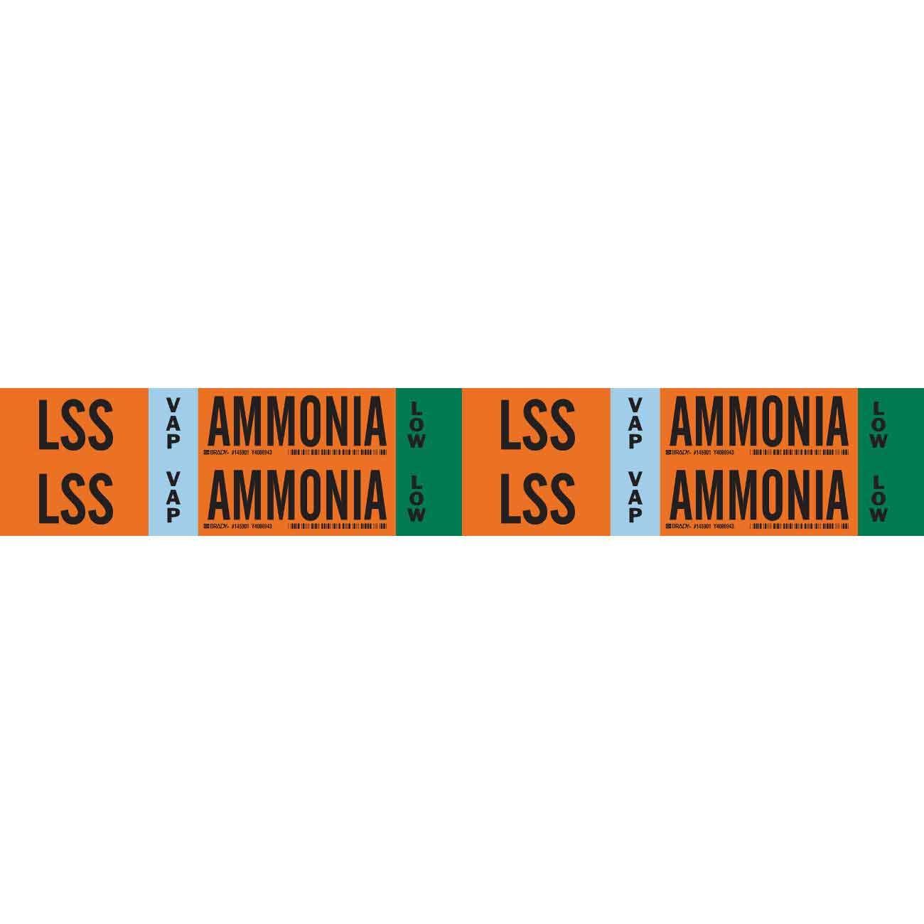 Brady LSS VAP Ammonia Low Pipe Marker, 1.125