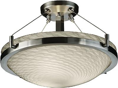 Justice Design Group Lighting FSN-9680-35-DROP-DBRZ-LED2-2000 Fusion-Ring 16 Semi-Flush Round Bowl Shade-Dark Bronze-Droplet-LED