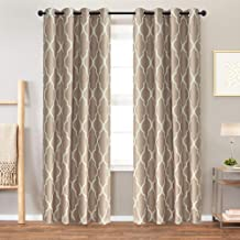 Moroccan Tile Curtains for Living Room Curtains Bedroom Kitchen Linen Textured Thermal Insulated Window Drapes Grommet Top on Flax 2 Panels 95 inches Long Dark Taupe