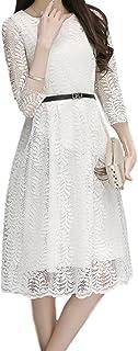 ELPIS レディース ファッション スリム 春 夏 レース ワンピース ドレス スカート 膝丈 スリーブ ラウンドネック 綿 各4色 S M L XL 2XL 3XL サイズ(ホワイト,M)