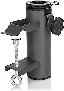 com-four® Soporte de sombrilla, paragüero para balcón, terraza o Mesa - para Postes de sombrilla 22-49 mm y grosores de Panel/barandilla de hasta 60 mm