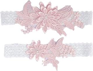 Amosfun 2Pcs Bride Leg Decors Lace Floral Elastic Sexy Pearl Inlaid Beautiful Garter Belts Leg Ornaments for Wedding Ceremony