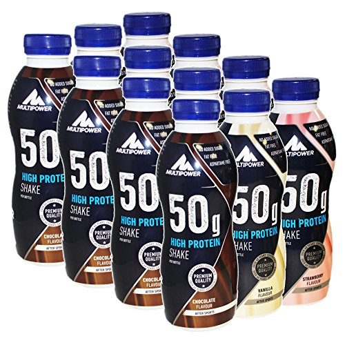 Multipower 50g High Protein Shake 12 x 500ml Mix Schoko, Vanille und Erdbeere