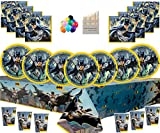 Confezione da tavola per Feste di Compleanno di Batman del Cavaliere Oscuro Superhero per Feste di Batman per 16 Ospiti - Cornice e Palloncini per Foto Gratis