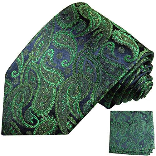 Paul Malone Krawatten Set 100% Seide Emerald grün paisley Hochzeitskrawatten mit Einstecktuch