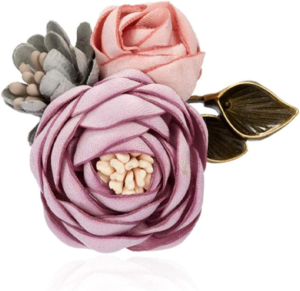 1PC Double Triple Colorful Fabric Rose Flower Bow Rhinestone Crystal Alloy Pin Pearl Brooch