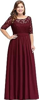 burgundy long dress plus size