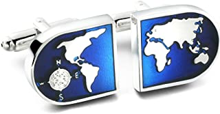 Jewelry Men's World Map Shirts Cufflinks, Wedding, Color Blue Silver, 1 Pair Set