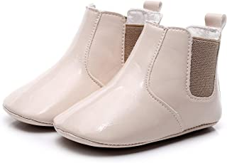 Bebila Glossy Patent Leather Baby Shoes - High Upper Girl Boy Boots Toddler Non-Skid Soft Sole Flats Slippers for First-Walkers Infants Cribs