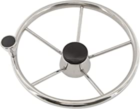 NovelBee 5 Spoke Dia.11 Stainless Steel Boat Steering Wheel with Control Knob and Cap