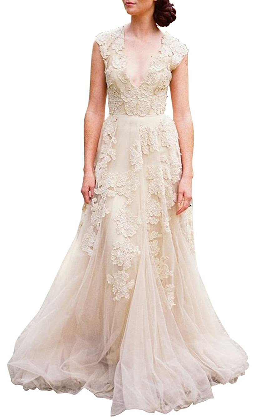 ASA Bridal Women's Vintage Cap Sleeve Lace Wedding Dress A Line Evening Gown