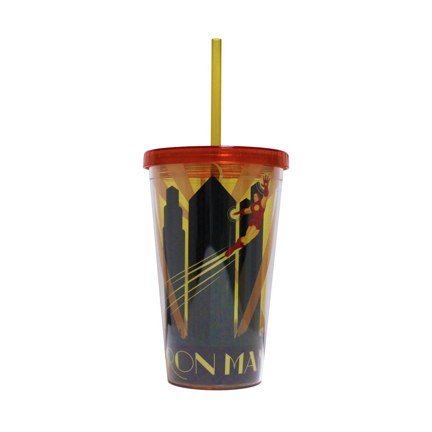 Silver Buffalo Marvel Iron Man Deco Plastic Cold Cup with Lid and Straw, 16-ounces, Multicolor