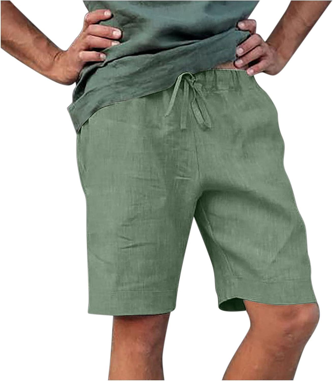 Men's Linen Shorts Solid Color Summ 40% OFF Cheap Sale Pockets Regular discount Up Lace Beach