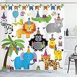 abby-shop Geburtstags-Duschvorhang, Dschungel-Wilde Safari-Tiere im Cartoon-Muster mit Partyhüten-Flaggen-Bild, Grau-Blau