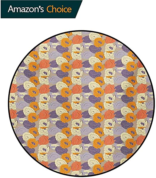 RUGSMAT Floral Non Slip Area Rug Pad Round Retro Style Poppy Blossoms In Tender Spring Nature Inspired Pattern Protect Floors While Securing Rug Making Vacuuming Round 31 Inch