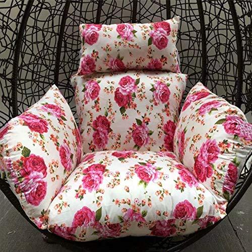 QTWW Cojín de una Sola Cesta, Cojines Colgantes para sillas Colgantes, Lavables, Transpirables, con Mullido, para balcón, Cuna de ratán, Cojines para sillas con Lazos-d 60x50x70cm (24x20x28inch)