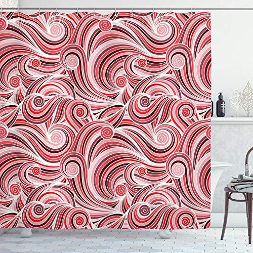 ABAKUHAUS Duschvorhang, Abstraktes Wellen Spiralen Asiatischen Fern OST Muster Weiß Rot Rosa Tönen ALS Digital Druck, Blickdicht aus Stoff inkl. 12 Ringe für Das Badezimmer Waschbar, 175 X 200 cm