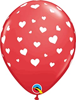 Qualatex Random Hearts-A-Round Printed Latex Balloons 6-Pieces, 11-inch Size, Red