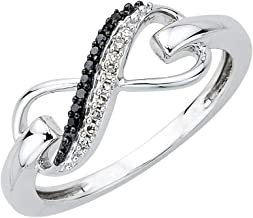 Sterling Silver Two Row Infinity Black and White Round Diamond Infinity Ring (1/20 cttw, I-J Color, S-I Clarity)