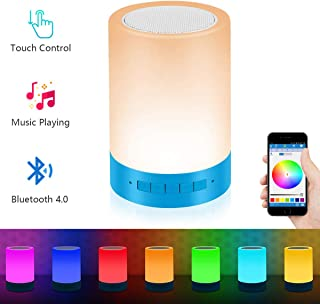 RC Table Lamp,Night Light with Bluetooth Speaker,Touch Sensor Bedside Lamp + Dimmable Warm White Light & RGB Color Changing Lamps for Bedrooms, Works with Android and iOS