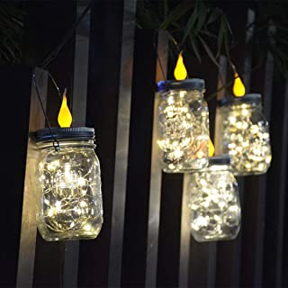 Abkshine 4 Pack Solar Mason Jar Lid Lights with Flickering Flameless Candle Topper, Solar Powered Outdoor Waterproof Tealight for Christmas Patio Garden Decor w/Hangers (20LED, Warm,Jar Not Included)