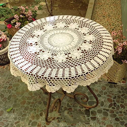 Nappe européenne Nappes Vintage Nappe Beige Nappes Beige Table Basse Meuble TV Nappes Ronde (70-120cm) (Couleur : Beige, taille : Round-110cm)