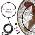 VICKERT Outdoor Mist Cooling System Fan Kit for a Cool Patio Breeze 20FT (6M) Misting Line + 5 Copper Metal Mist Nozzles + a Copper Metal Connector(3/4'') Fit to Any Outdoor Fan (Black Color)