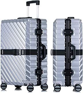 SMLCTY Lightweight Suitcases,hand Luggage Flight Bags,ABS+PC Waterproof and Breathable 4 Round Mute Caster Large Capacity Password Lock Travel Trolley Case (Color : Silver, Size : 20 inch)