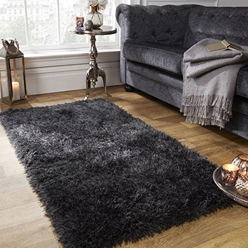 Pluizig tapijt Sienna 5 cm breed en getuft - grijs antraciet, 120 x 170 cm