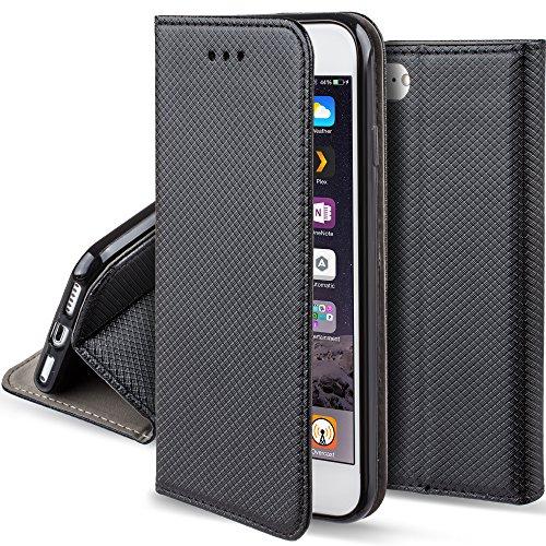 Moozy Hülle Flip Case für iPhone SE, iPhone 5s, Schwarz - Dünne Magnetische Klapphülle Handyhülle mit Standfunktion