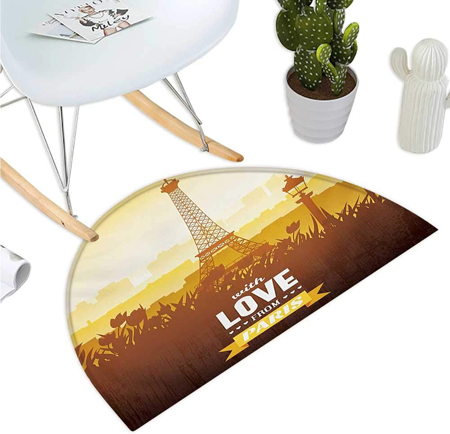 Paris Semicircular Cushion Eiffel Tower with Tulip and City Silhouette Nostalgic Town Floral Romantic Entry Door Mat H 39.3  xD 59  orange Yellow Brown