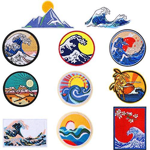 11 Piezas Parche de Ola de Kanagawa Insignia de Apliques Bordados Hierro en Coser en Emblema Accesorios de DIY