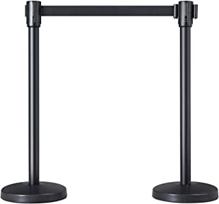 Yaheetech Retractable Belt Stanchion Set for Queuing Lines, Baking Varnished Stanchion Nylon Rope Stanchion Safety Stanchi...