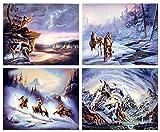 Poster mit Indianer-Krieger, Adler, Geist, Pferd, 40,6 x