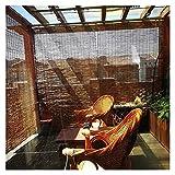 TUOL1AO Ciego de Rodillo de bambú, Personalizable, Tonos de bambú de Cocina, Cortina de partición para Ventanas/Puertas, Sombra ciega para decoración para Interiores y Exteriores - sin perforación