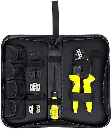 4 in 1 Professionelle Draht Bördelzange Ratschen Terminal Crimping Tool Repair Tool Mit Aufbewahrungstasche Griff Greifwerkzeug - Gelb & Schwarz B07PW6V33J | Der Schatz des Kindes, unser Glück