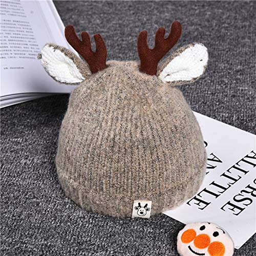 Xme Autumn and winter baby antlers Christmas hat, children's knit hat, children's warm headgear