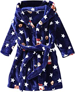 KAIXLIONLY Kids Robes,Flannel Bathrobe for Girls and Boys Shower Spa Bath Towel Hooded Sleepwear Night-Gown