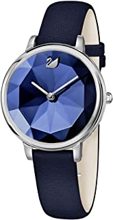 SWAROVSKI Crystal Authentic Crystal Lake Watch, Leather Strap, Blue, Silver Tone - High Class Stone Studded Swiss Made Timepiece Jewelry and Everyday Accessory for Women