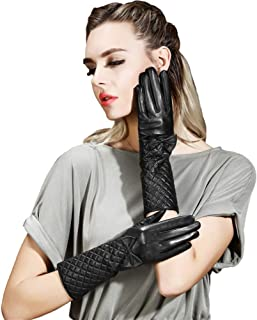Womens Leather Gloves Ladies Soft Warm Silk Lining Winter Gloves Touch Screen Mittens with One Bow Decoration (Balck)