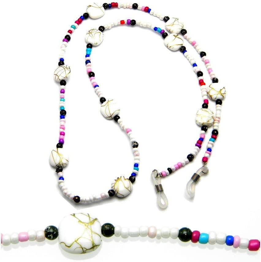 PlanetZia Eyeglass, Sunglass Multi Color Beaded Holder Chain Necklace with Grips TVT-EG-28-1