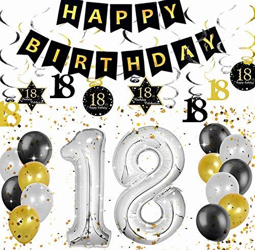 JeVenis Set di 18 Decorazioni per Feste 18 Anni Kit Saluti a 18 Anni Banner 18 Compleanno Banner 18 turbinii sospesi Forniture per Feste 18 Anni
