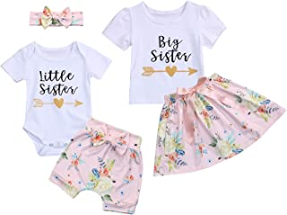 Kids Newborn Baby Girls Sister Outfit Letter Romper T-Shirt+Floral Print Tutu Skirt Shorts Pants Dress Clothes Set