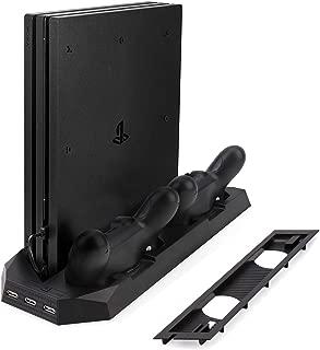 PS4両用スタンド PS4プロ/PS4スリムに対応 プレイステーション4縦置きスタンド コントローラー2台充電 USBハブ3ポート 空冷ファン2基付き コントローラー 充電スタンド PS4 Slim/PS4 Pro Stand 日本語説明書付き